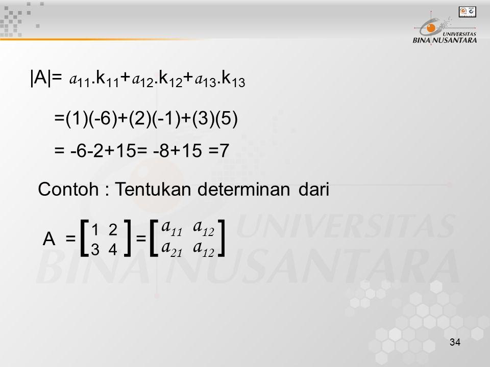 [ ] [ ] a11 a12 a21 a12 |A|= a11.k11+a12.k12+a13.k13